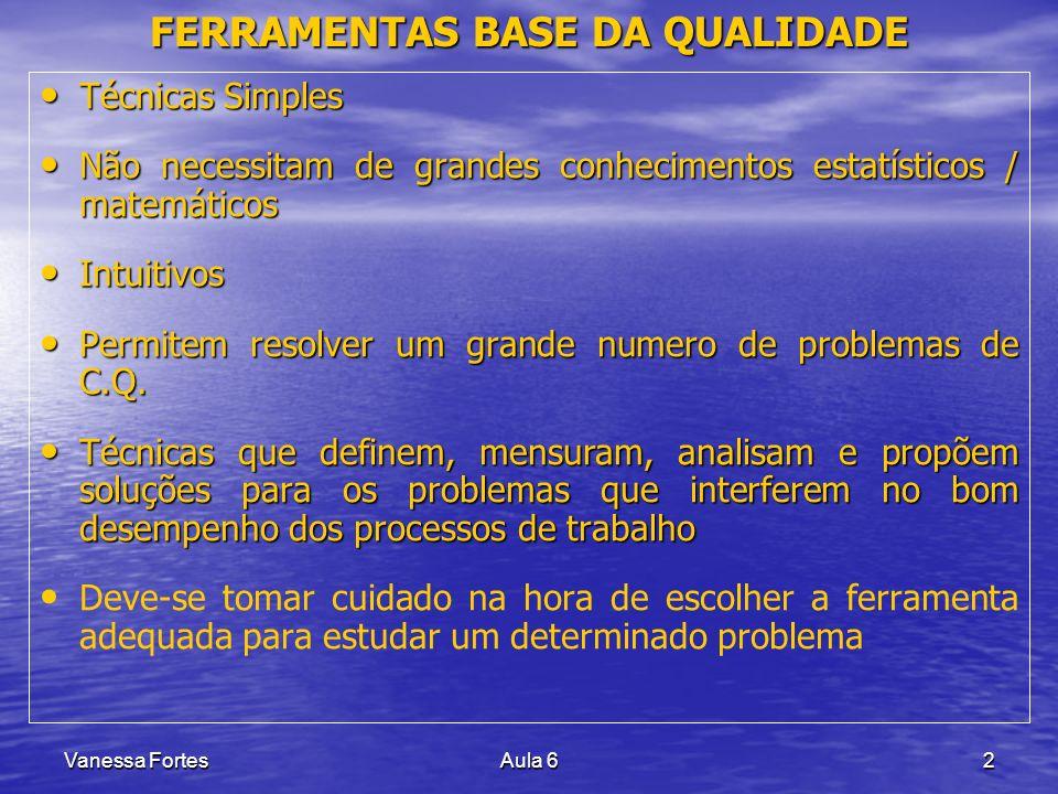 Vanessa FortesAula 62 FERRAMENTAS BASE DA QUALIDADE Técnicas Simples Técnicas Simples Não necessitam de grandes conhecimentos estatísticos / matemátic