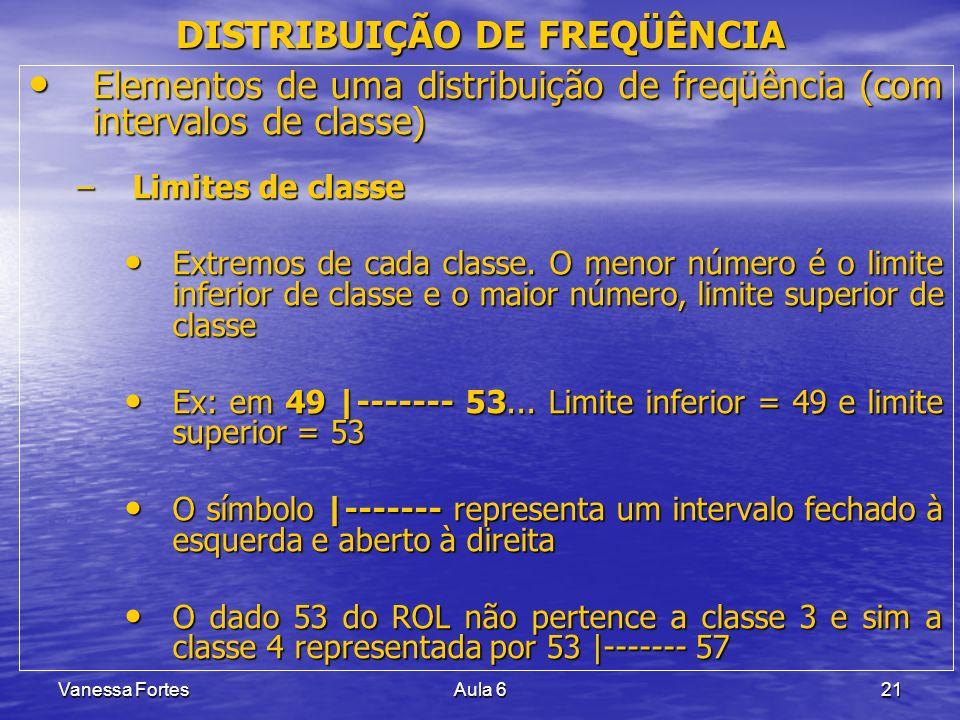 Vanessa FortesAula 621 Elementos de uma distribuição de freqüência (com intervalos de classe) Elementos de uma distribuição de freqüência (com interva