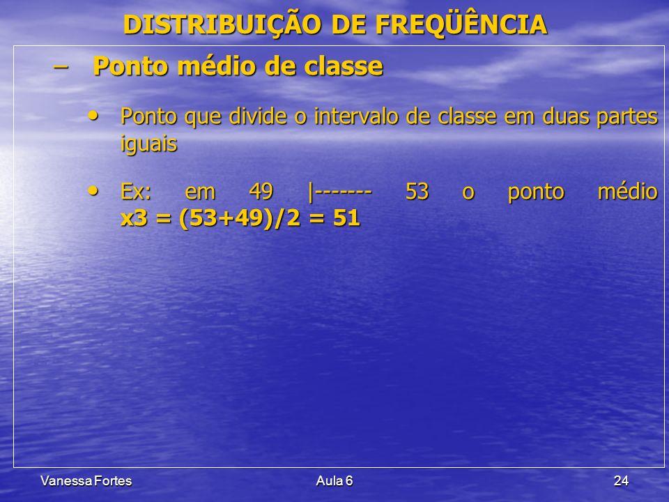 Vanessa FortesAula 624 –Ponto médio de classe Ponto que divide o intervalo de classe em duas partes iguais Ponto que divide o intervalo de classe em d