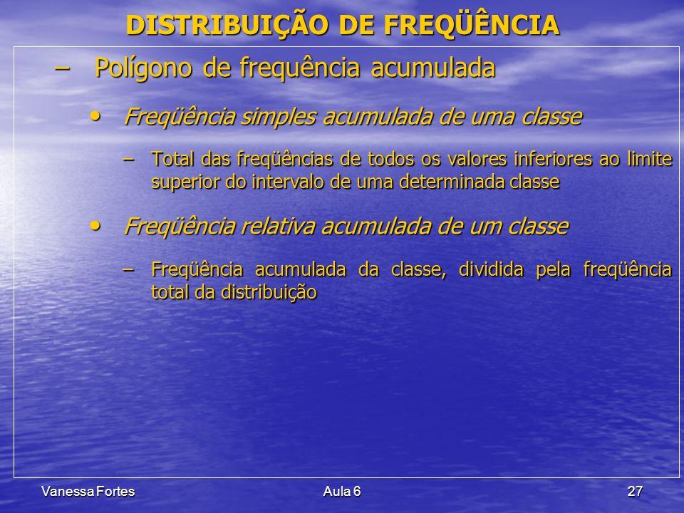 Vanessa FortesAula 627 –Polígono de frequência acumulada Freqüência simples acumulada de uma classe Freqüência simples acumulada de uma classe –Total