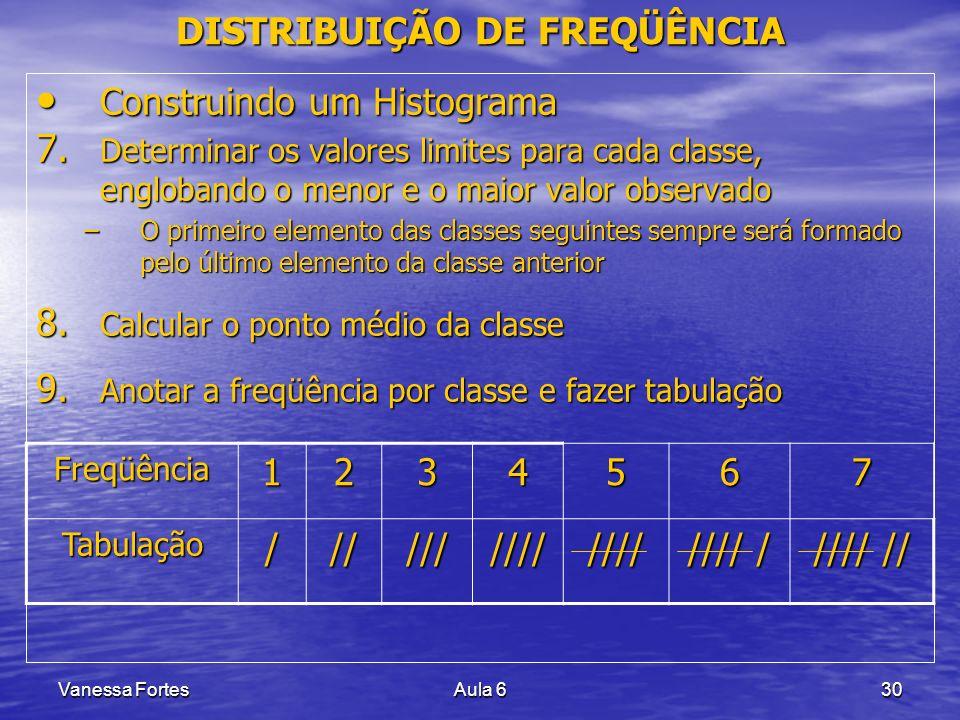 Vanessa FortesAula 630 DISTRIBUIÇÃO DE FREQÜÊNCIA Construindo um Histograma Construindo um Histograma 7. Determinar os valores limites para cada class