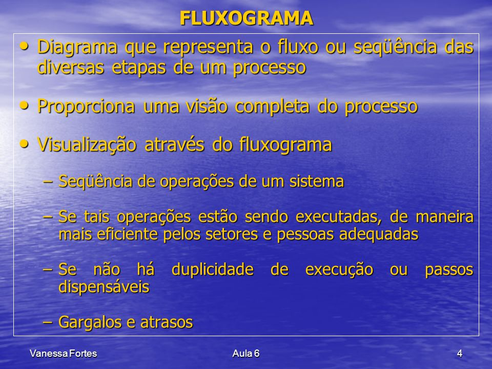 Vanessa FortesAula 64 Diagrama que representa o fluxo ou seqüência das diversas etapas de um processo Diagrama que representa o fluxo ou seqüência das
