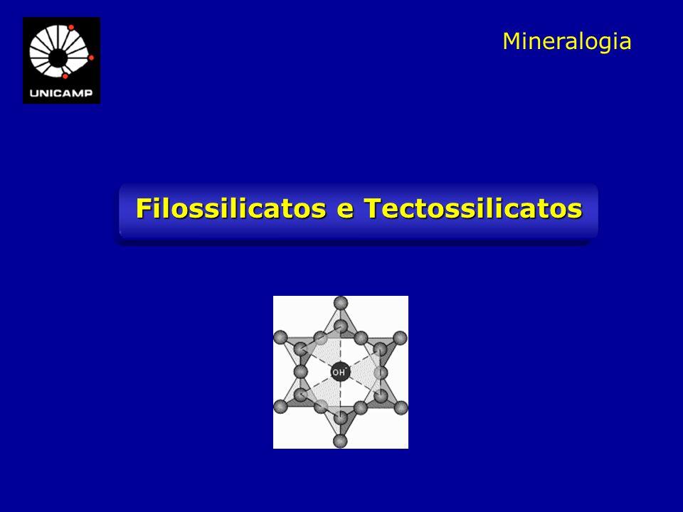 FELDSPATOS ALCALINOS ¼ de Si 4+ substituído por Al 3+ K + ou Na + ortoclásio (microclínio/sanidina) ou albita: formam solução sólida completa somente a altas temperaturas (> 600°C) 1/2 de Si 4+ substituído por Al 3+ Ca 2+ ou Na + série dos plagioclásios Temperaturas < 600°C: estrutura se contrai exsolução de microclínio e albita = pertita