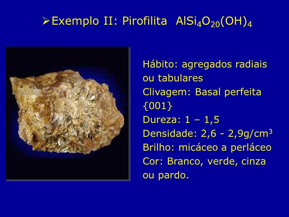 Exemplo II: Pirofilita AlSi 4 O 20 (OH) 4 Hábito: agregados radiais ou tabulares Clivagem: Basal perfeita {001} Dureza: 1 – 1,5 Densidade: 2,6 - 2,9g/