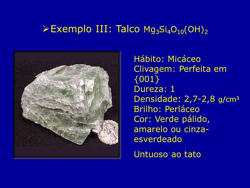 Hábito: Micáceo Clivagem: Perfeita em {001} Dureza: 1 Densidade: 2,7-2,8 g/cm 3 Brilho: Perláceo Cor: Verde pálido, amarelo ou cinza- esverdeado Untuo