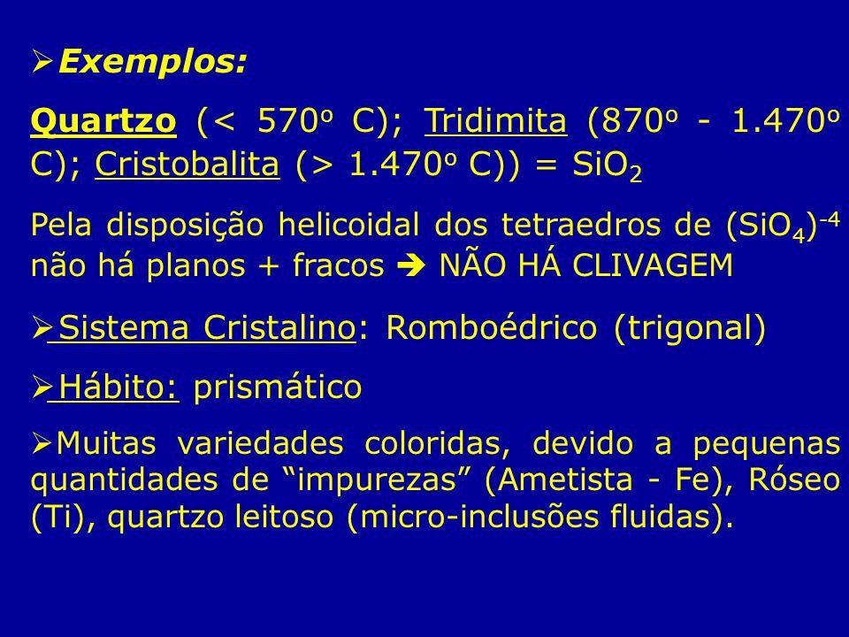 Exemplos: Quartzo ( 1.470 o C)) = SiO 2 Pela disposição helicoidal dos tetraedros de (SiO 4 ) -4 não há planos + fracos NÃO HÁ CLIVAGEM Sistema Crista
