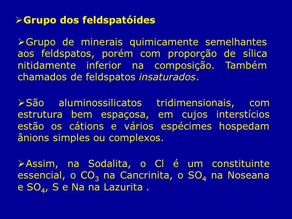 Grupo dos feldspatóides Grupo de minerais quimicamente semelhantes aos feldspatos, porém com proporção de sílica nitidamente inferior na composição. T