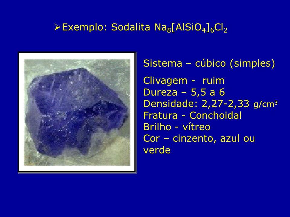 Exemplo: Sodalita Na 8 [AlSiO 4 ] 6 Cl 2 Sistema – cúbico (simples) Clivagem - ruim Dureza – 5,5 a 6 Densidade: 2,27-2,33 g/cm 3 Fratura - Conchoidal