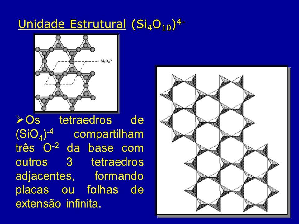 Estrutura As folhas são unidas por cátions, que se ligam aos O -2 dos ápices dos tetraedros formando a estrutura.