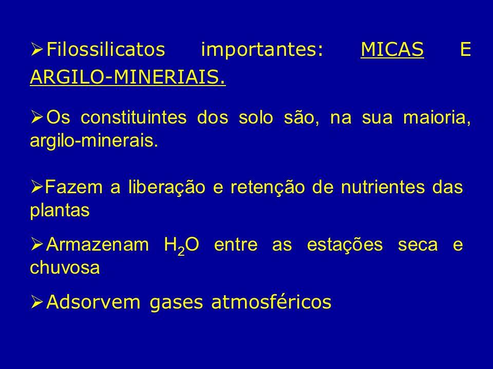 Filossilicatos importantes: MICAS E ARGILO-MINERIAIS. Os constituintes dos solo são, na sua maioria, argilo-minerais. Fazem a liberação e retenção de