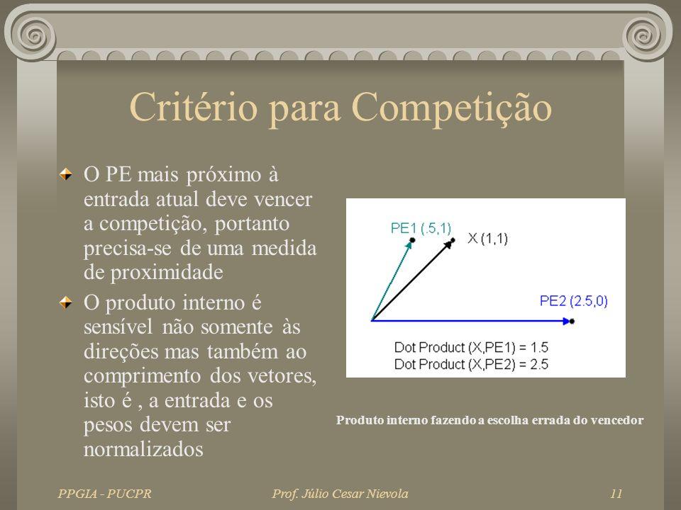 PPGIA - PUCPRProf. Júlio Cesar Nievola11 Critério para Competição O PE mais próximo à entrada atual deve vencer a competição, portanto precisa-se de u