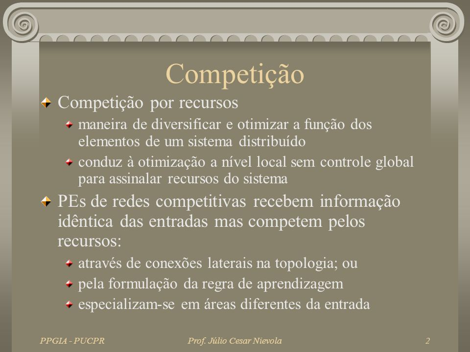 PPGIA - PUCPRProf. Júlio Cesar Nievola2 Competição Competição por recursos maneira de diversificar e otimizar a função dos elementos de um sistema dis