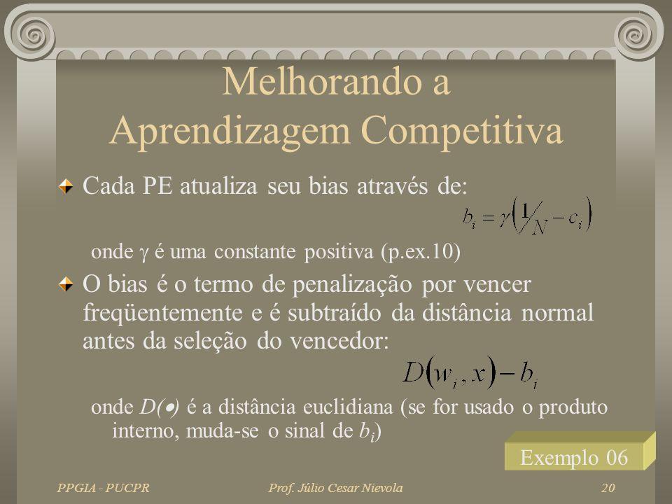 PPGIA - PUCPRProf. Júlio Cesar Nievola20 Melhorando a Aprendizagem Competitiva Cada PE atualiza seu bias através de: onde é uma constante positiva (p.