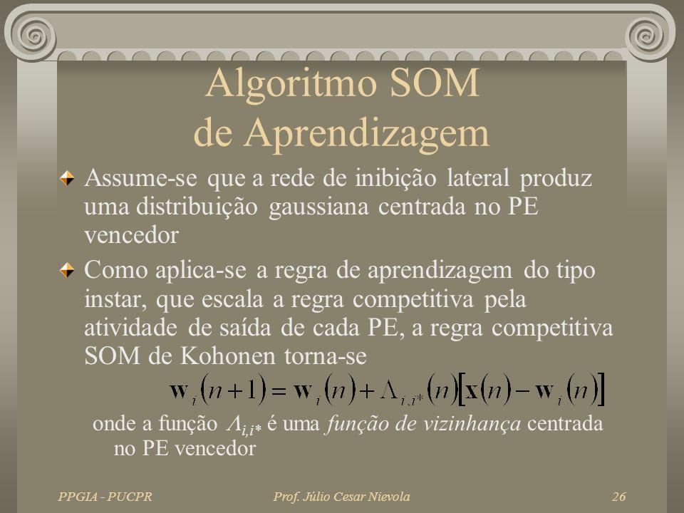 PPGIA - PUCPRProf. Júlio Cesar Nievola26 Algoritmo SOM de Aprendizagem Assume-se que a rede de inibição lateral produz uma distribuição gaussiana cent