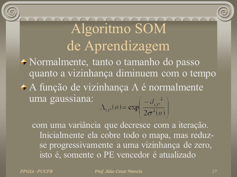 PPGIA - PUCPRProf. Júlio Cesar Nievola27 Algoritmo SOM de Aprendizagem Normalmente, tanto o tamanho do passo quanto a vizinhança diminuem com o tempo