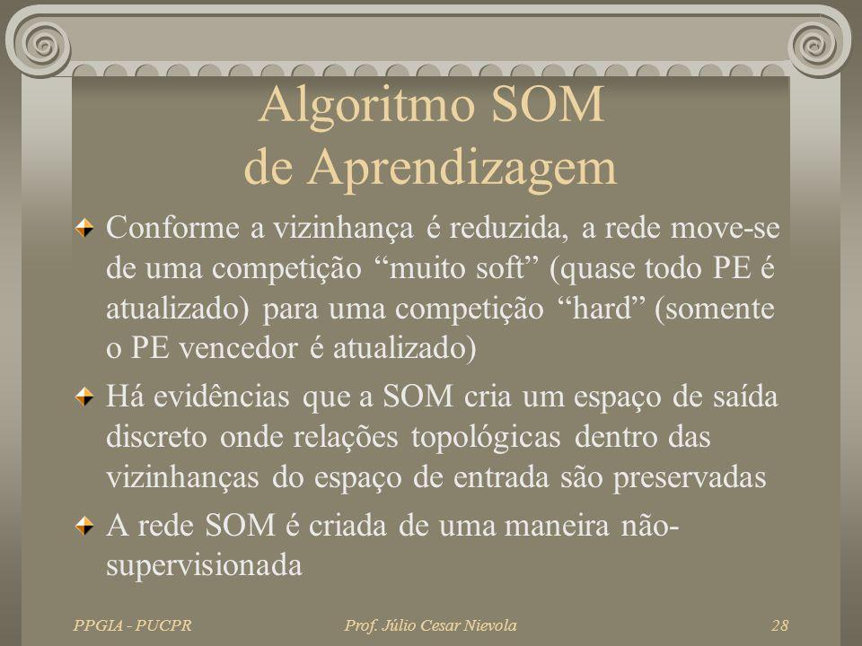 PPGIA - PUCPRProf. Júlio Cesar Nievola28 Algoritmo SOM de Aprendizagem Conforme a vizinhança é reduzida, a rede move-se de uma competição muito soft (