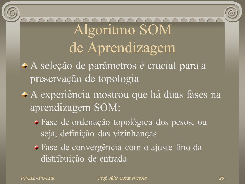 PPGIA - PUCPRProf. Júlio Cesar Nievola29 Algoritmo SOM de Aprendizagem A seleção de parâmetros é crucial para a preservação de topologia A experiência