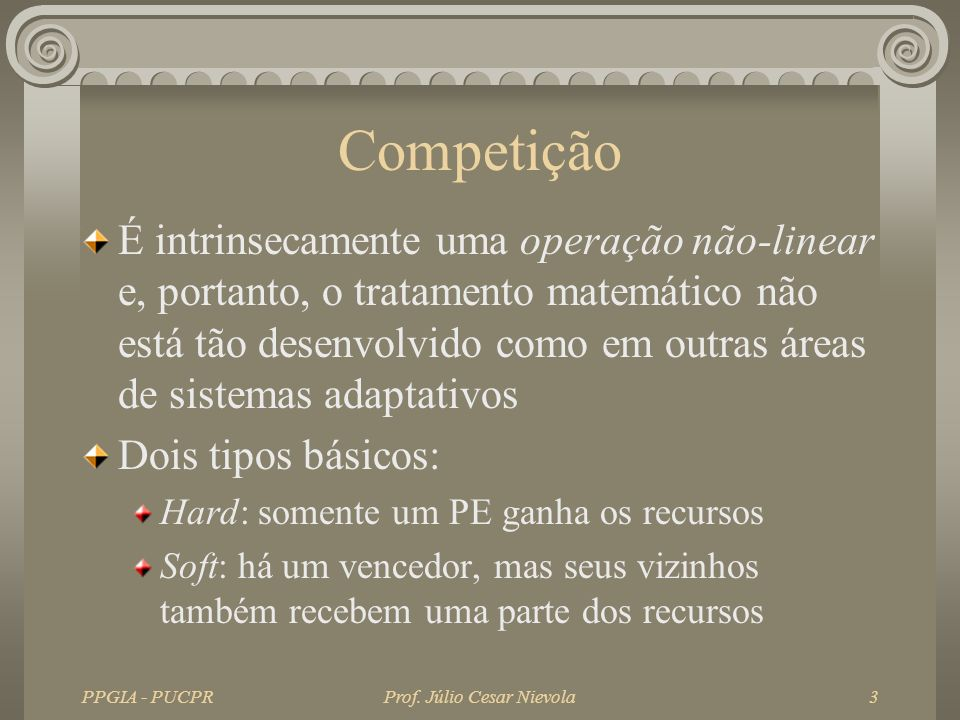PPGIA - PUCPRProf. Júlio Cesar Nievola3 Competição É intrinsecamente uma operação não-linear e, portanto, o tratamento matemático não está tão desenvo
