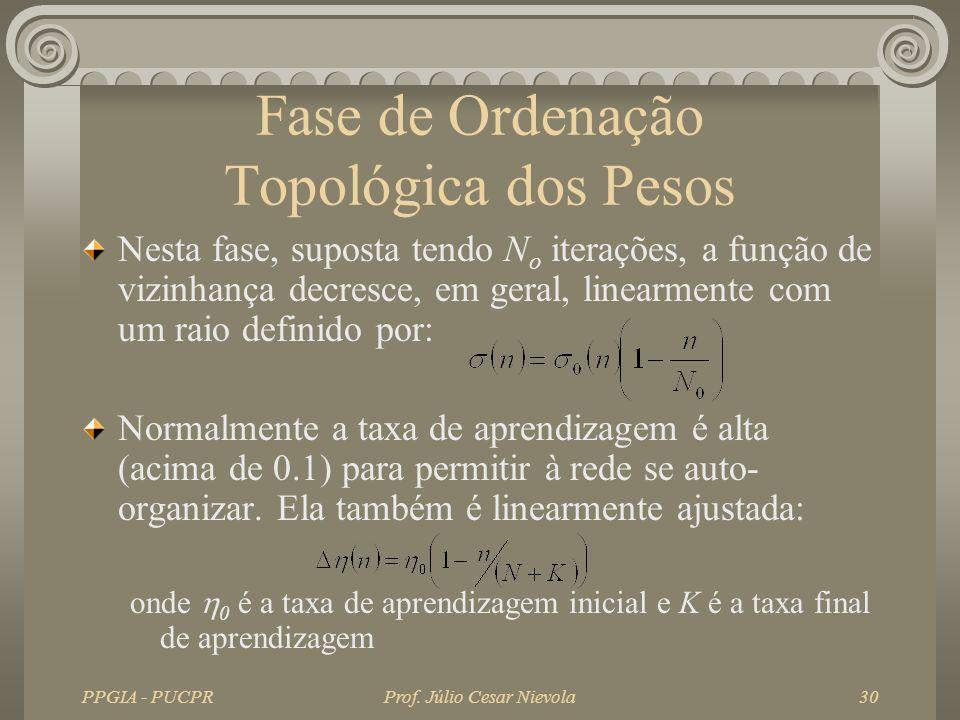 PPGIA - PUCPRProf. Júlio Cesar Nievola30 Fase de Ordenação Topológica dos Pesos Nesta fase, suposta tendo N o iterações, a função de vizinhança decres