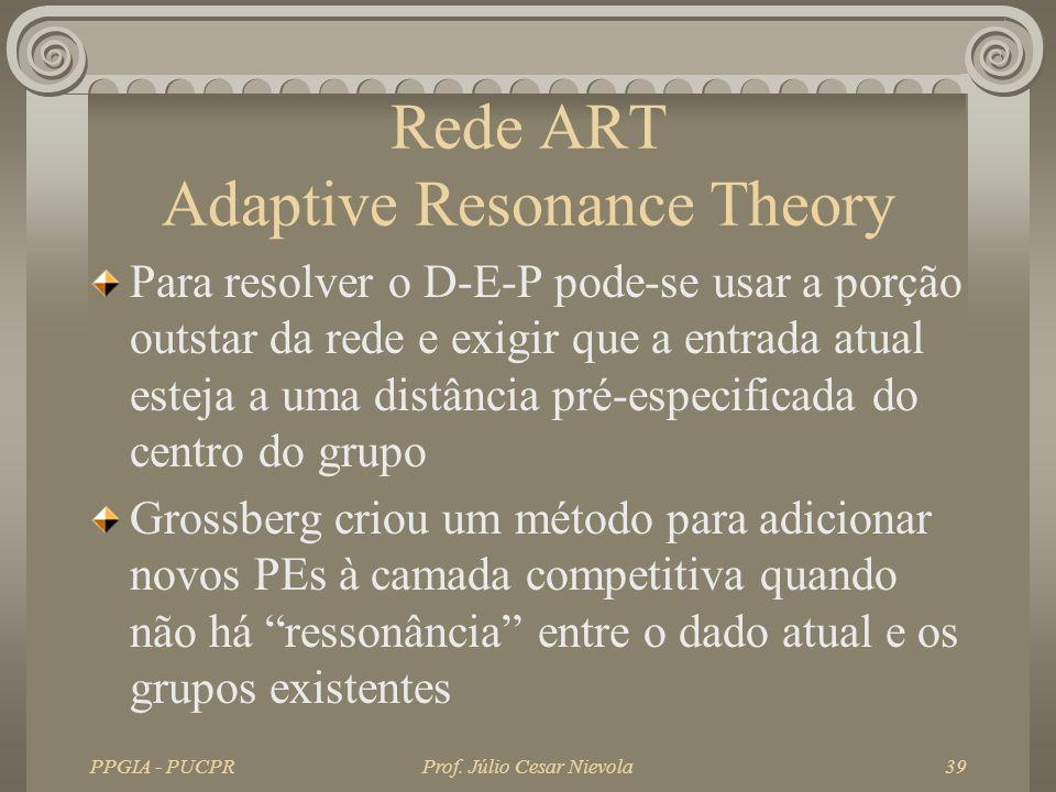 PPGIA - PUCPRProf. Júlio Cesar Nievola39 Rede ART Adaptive Resonance Theory Para resolver o D-E-P pode-se usar a porção outstar da rede e exigir que a