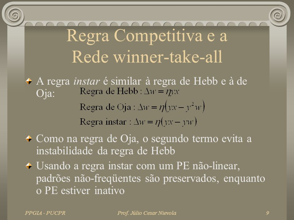 PPGIA - PUCPRProf. Júlio Cesar Nievola9 Regra Competitiva e a Rede winner-take-all A regra instar é similar à regra de Hebb e à de Oja: Como na regra
