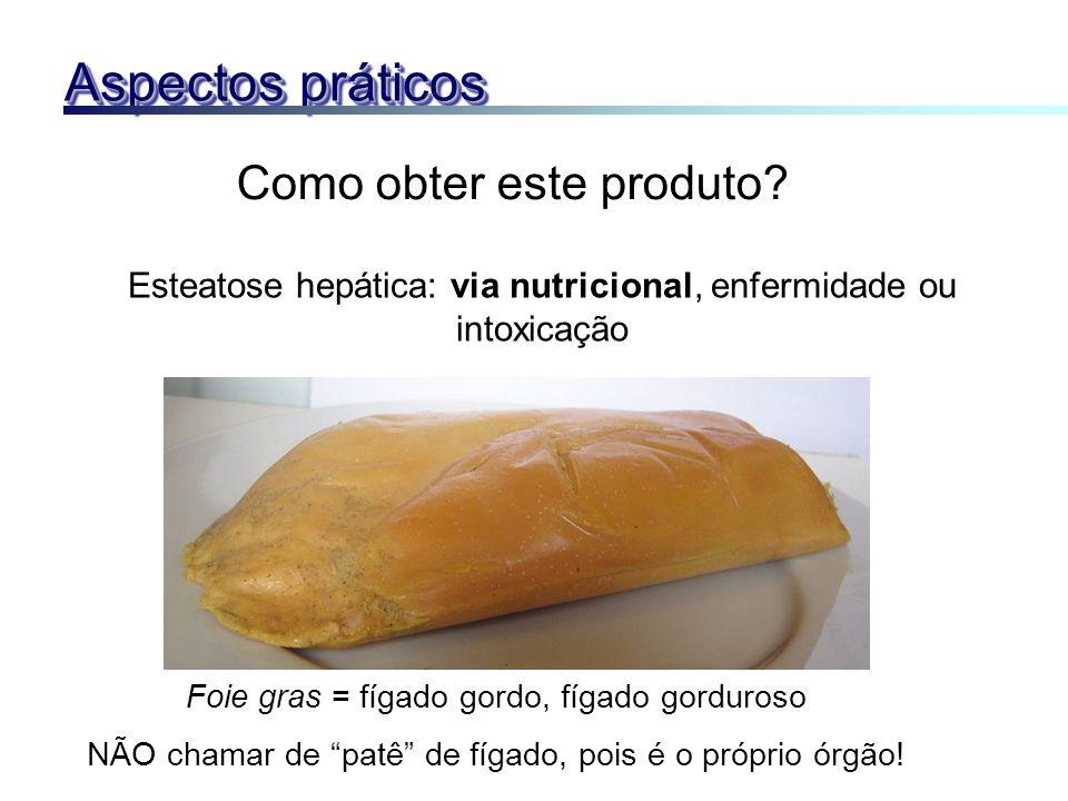 Como obter este produto? Esteatose hepática: via nutricional, enfermidade ou intoxicação Foie gras = fígado gordo, fígado gorduroso NÃO chamar de patê