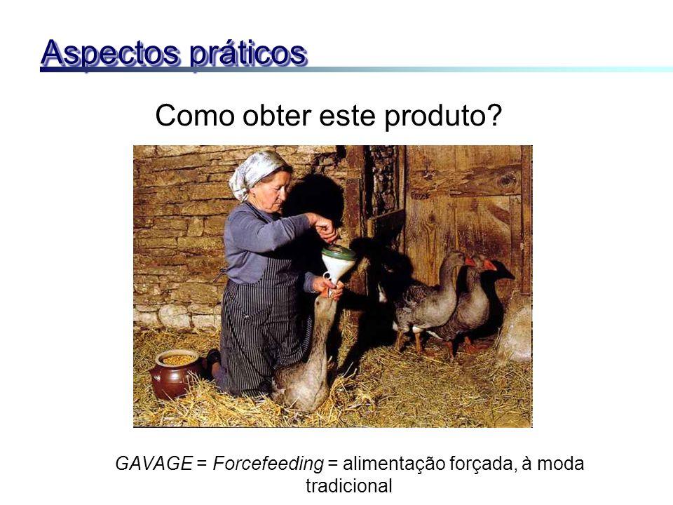 Como obter este produto? GAVAGE = Forcefeeding = alimentação forçada, à moda tradicional Aspectos práticos