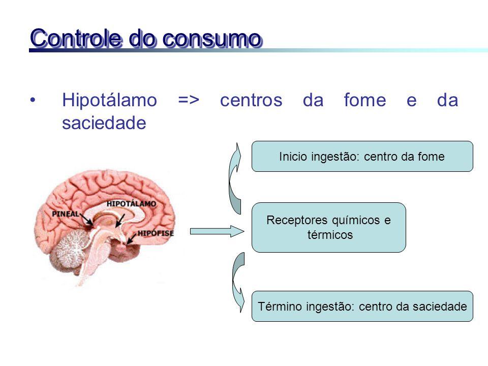 Controle do consumo Hipotálamo => centros da fome e da saciedade Receptores químicos e térmicos Inicio ingestão: centro da fome Término ingestão: cent