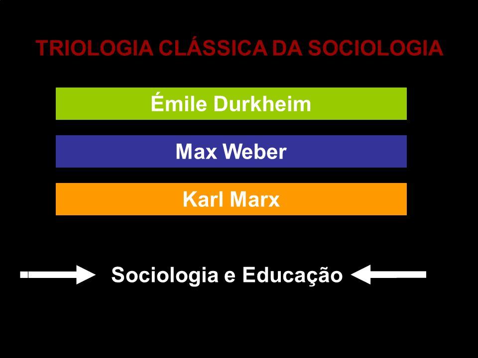 TRIOLOGIA CLÁSSICA DA SOCIOLOGIA Max Weber Émile Durkheim Karl Marx Sociologia e Educação