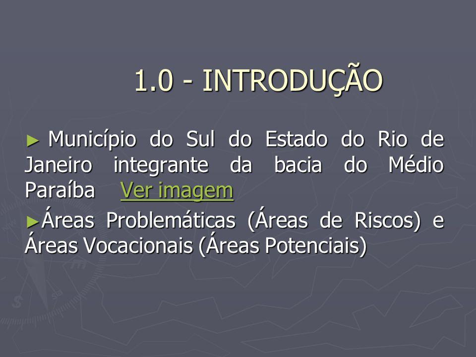 1.0 - INTRODUÇÃO Município do Sul do Estado do Rio de Janeiro integrante da bacia do Médio Paraíba Ver imagem Município do Sul do Estado do Rio de Jan