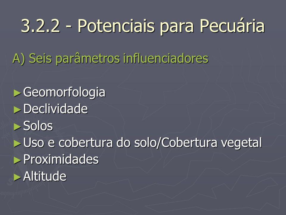 3.2.2 - Potenciais para Pecuária A) Seis parâmetros influenciadores Geomorfologia Geomorfologia Declividade Declividade Solos Solos Uso e cobertura do