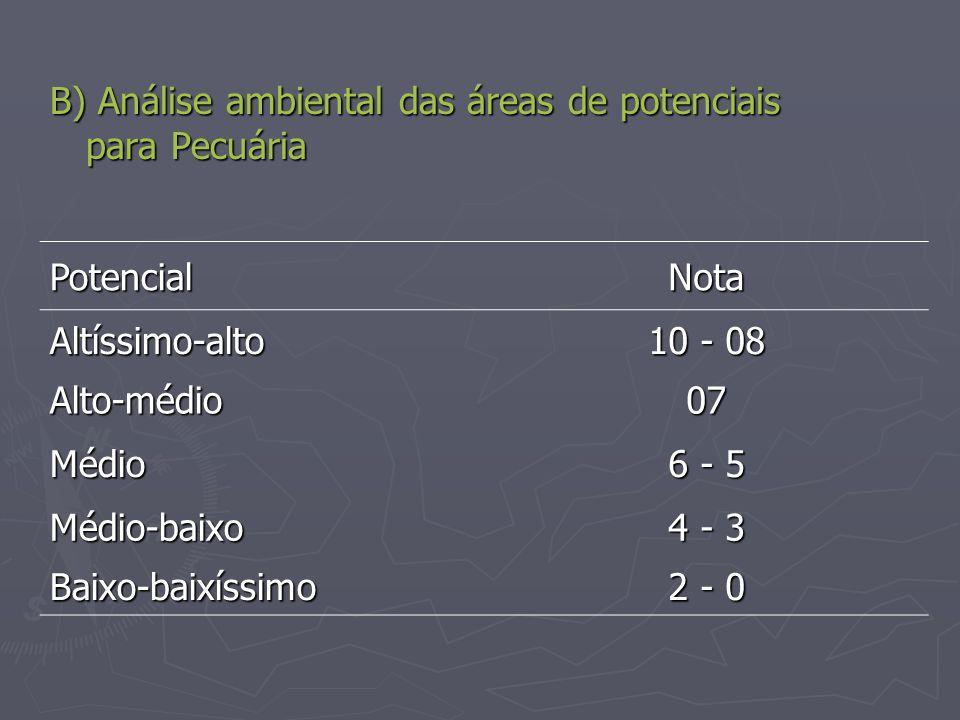 B) Análise ambiental das áreas de potenciais para Pecuária PotencialNota Altíssimo-alto 10 - 08 Alto-médio07 Médio 6 - 5 Médio-baixo 4 - 3 Baixo-baixí