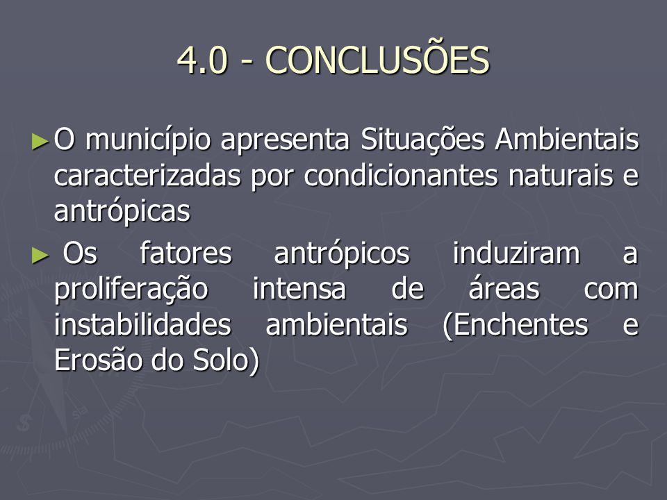 4.0 - CONCLUSÕES O município apresenta Situações Ambientais caracterizadas por condicionantes naturais e antrópicas O município apresenta Situações Am