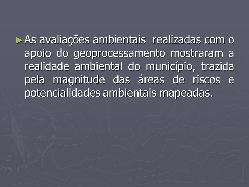 As avaliações ambientais realizadas com o apoio do geoprocessamento mostraram a realidade ambiental do município, trazida pela magnitude das áreas de