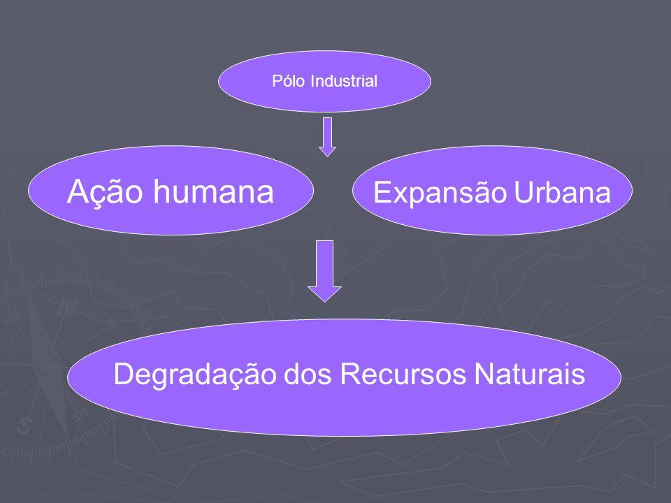 Ação humana Expansão Urbana Degradação dos Recursos Naturais Pólo Industrial