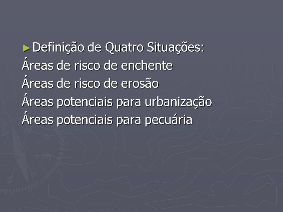 Definição de Quatro Situações: Definição de Quatro Situações: Áreas de risco de enchente Áreas de risco de erosão Áreas potenciais para urbanização Ár