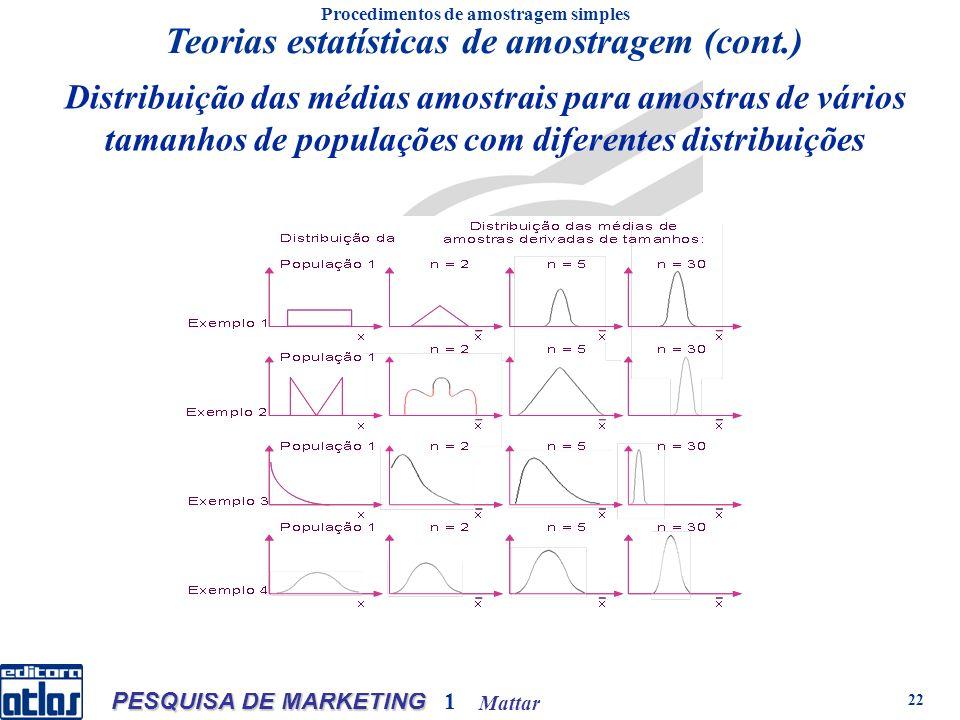 Mattar PESQUISA DE MARKETING 1 22 Distribuição das médias amostrais para amostras de vários tamanhos de populações com diferentes distribuições Procedimentos de amostragem simples Teorias estatísticas de amostragem (cont.)
