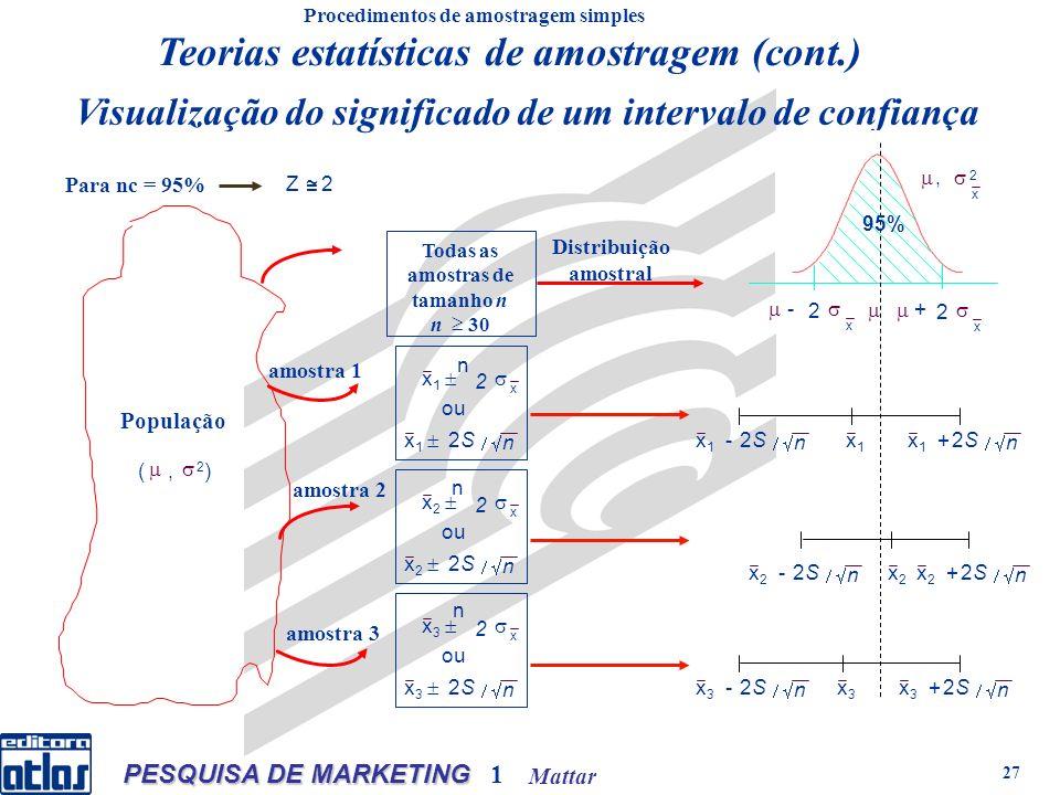 Mattar PESQUISA DE MARKETING 1 27 Visualização do significado de um intervalo de confiança Procedimentos de amostragem simples n n n Teorias estatísticas de amostragem (cont.)