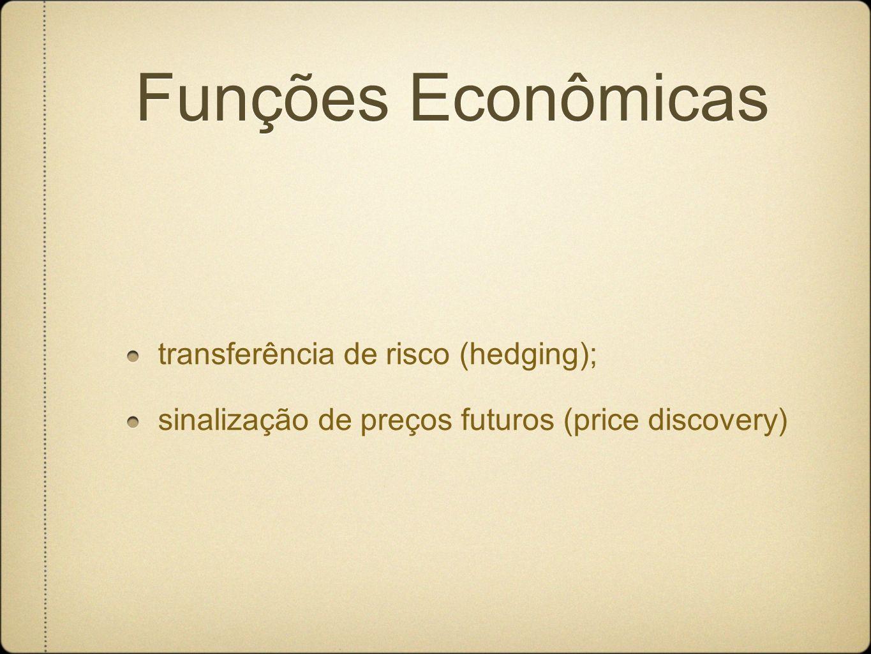 Funções Econômicas transferência de risco (hedging); sinalização de preços futuros (price discovery)