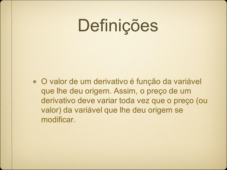 O valor de um derivativo é função da variável que lhe deu origem.