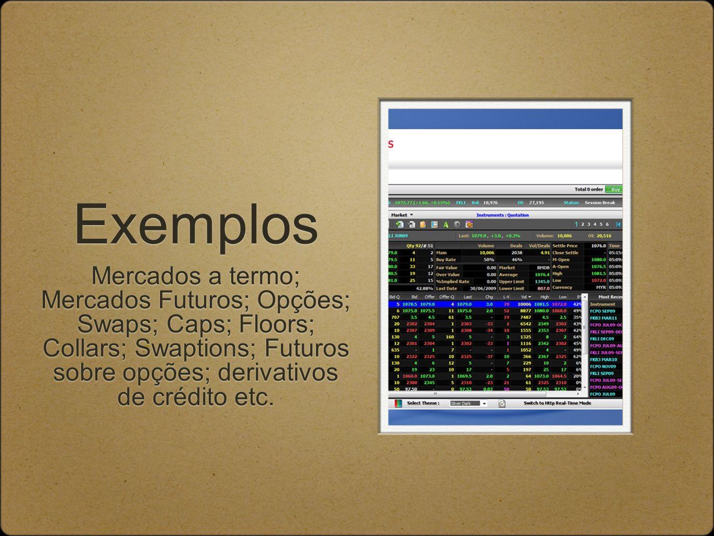 Exemplos Mercados a termo; Mercados Futuros; Opções; Swaps; Caps; Floors; Collars; Swaptions; Futuros sobre opções; derivativos de crédito etc.