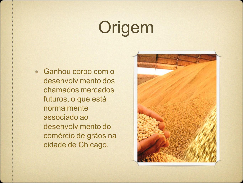 Origem Ganhou corpo com o desenvolvimento dos chamados mercados futuros, o que está normalmente associado ao desenvolvimento do comércio de grãos na cidade de Chicago.
