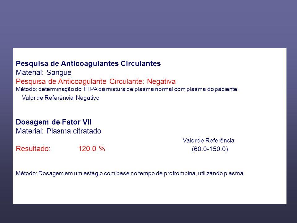 Pesquisa de Anticoagulantes Circulantes Material: Sangue Pesquisa de Anticoagulante Circulante: Negativa Método: determinação do TTPA da mistura de pl