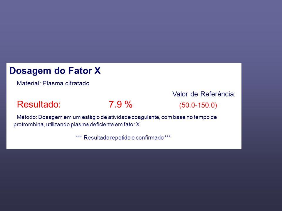 Dosagem do Fator X Material: Plasma citratado Valor de Referência: Resultado: 7.9 % (50.0-150.0) Método: Dosagem em um estágio de atividade coagulante