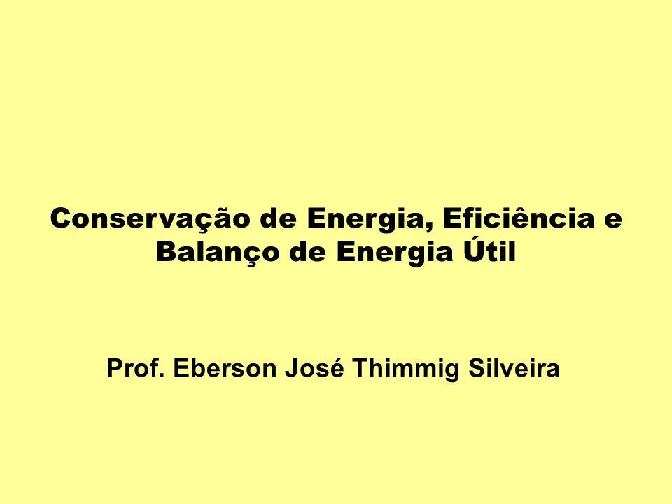 Prof. Eberson José Thimmig Silveira Conservação de Energia, Eficiência e Balanço de Energia Útil