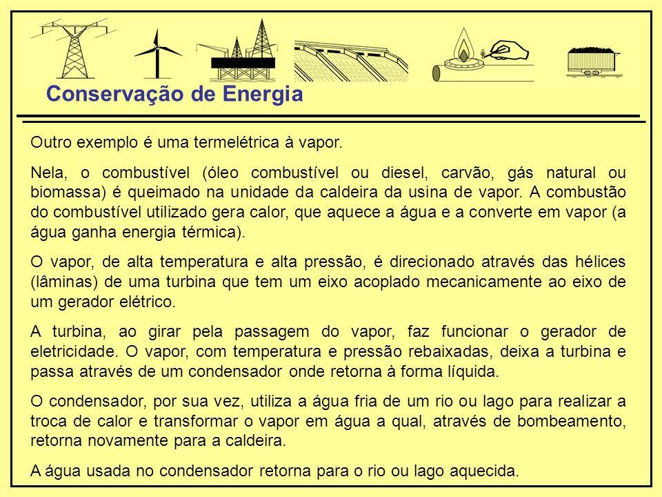 Outro exemplo é uma termelétrica à vapor.