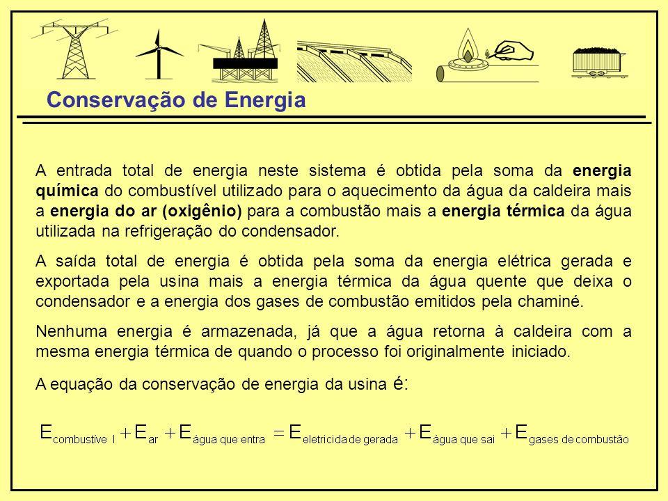 A entrada total de energia neste sistema é obtida pela soma da energia química do combustível utilizado para o aquecimento da água da caldeira mais a energia do ar (oxigênio) para a combustão mais a energia térmica da água utilizada na refrigeração do condensador.