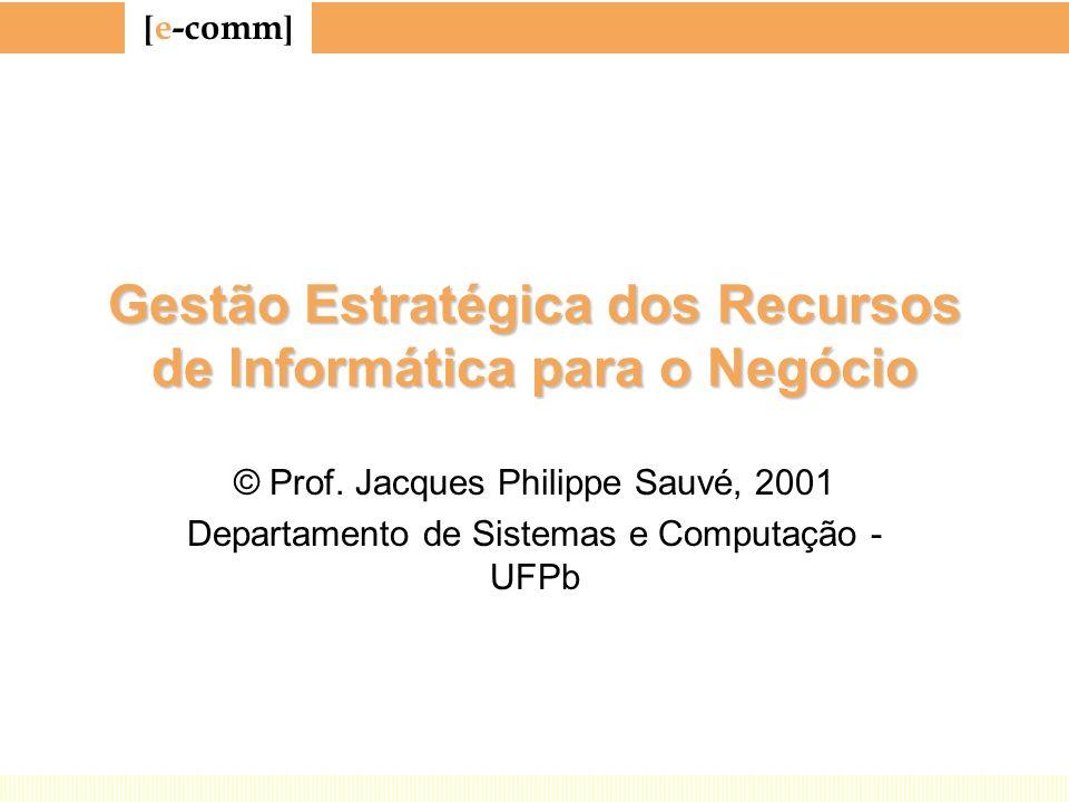 [ e-comm ] Gestão Estratégica dos Recursos de Informática para o Negócio © Prof. Jacques Philippe Sauvé, 2001 Departamento de Sistemas e Computação -