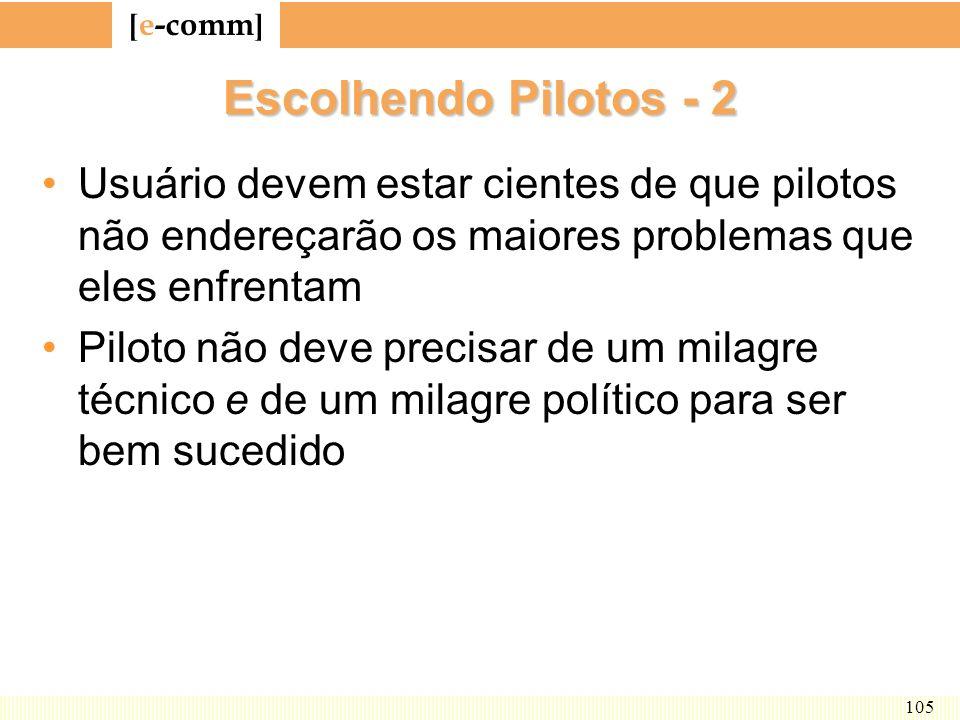 [ e-comm ] 105 Escolhendo Pilotos - 2 Usuário devem estar cientes de que pilotos não endereçarão os maiores problemas que eles enfrentam Piloto não de