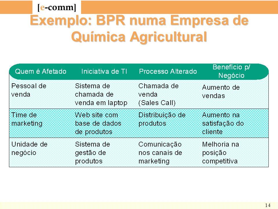 [ e-comm ] 14 Exemplo: BPR numa Empresa de Química Agricultural